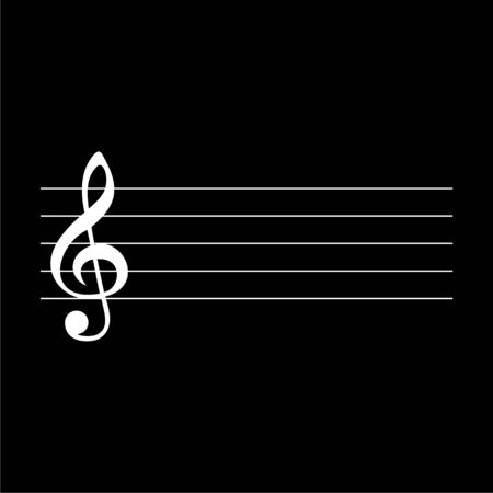 Treble Clef icon, Musical key, simple vector icon on dark background