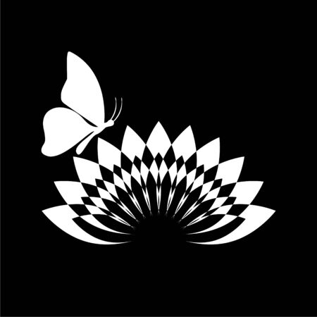 Beautiful lotus flower and Butterfly icon on dark background