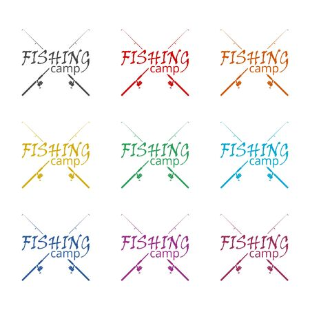 Fishing camp icon, color icons set