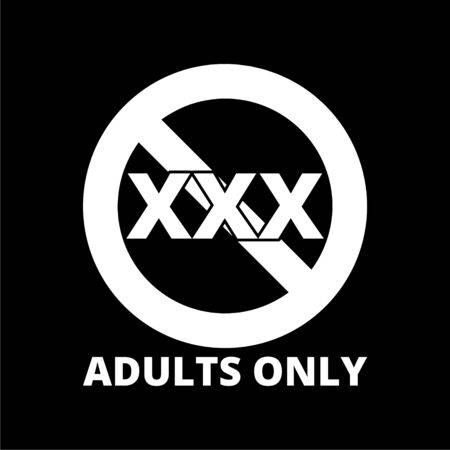 Adults only content icon, Vector XXX sign on dark background