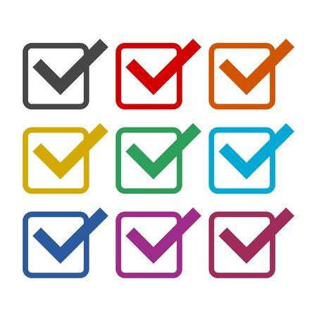 Icono de lista de verificación, conjunto de iconos de colores