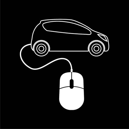 Computer mouse and car icon on dark background