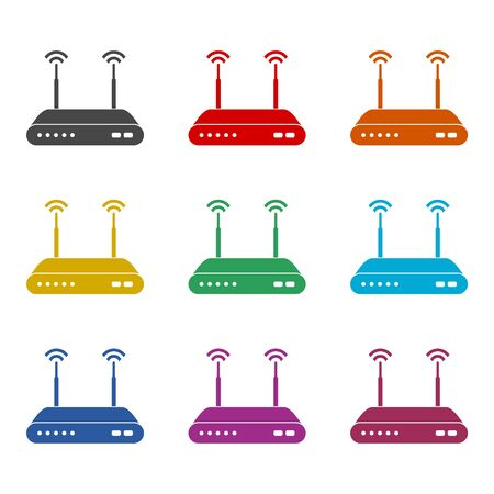 Wireless router icon, color icons set Illustration