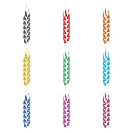 Wheat icon, Wheat ears, color icons set