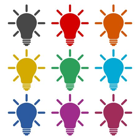 Light bulb icon, color icons set