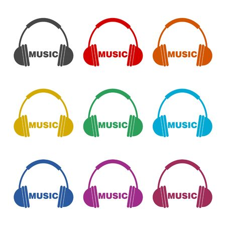 Headphones and Word Music icon, color icons set