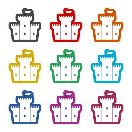 Icono de castillo, conjunto de iconos de colores