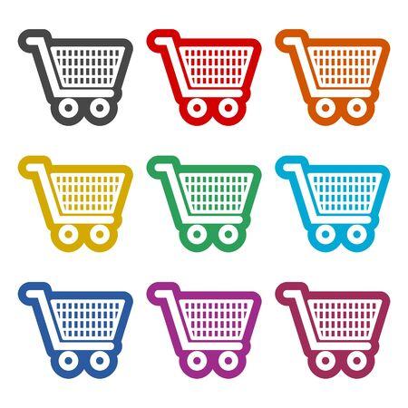 Shopping icon, Shopping cart icon, color icons set