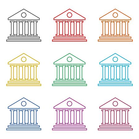 Bank building icon, color icons set