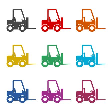 Forklift icon, Forklift truck, color icons set