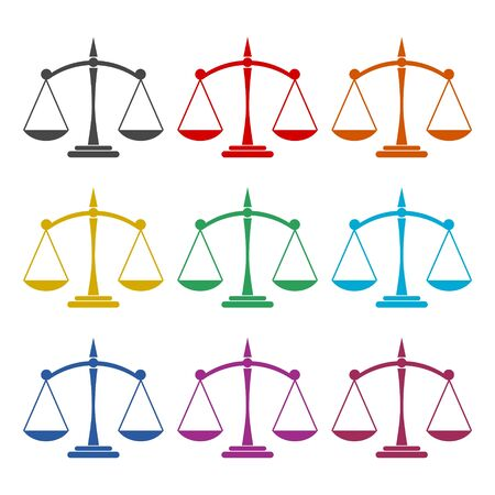 Scales of justice icon, color icons set