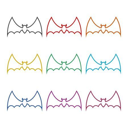 Bat Silhouette icon, color icons set Foto de archivo - 128867158