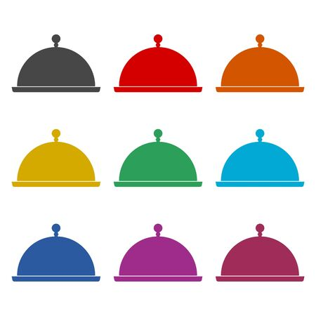 Food cover vector icon, Food Serving Tray Platter Icon, color icons set  イラスト・ベクター素材