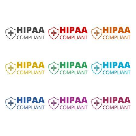 HIPAA Compliance icon, color icons set
