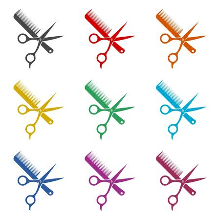 Comb and scissors icon, color icons set
