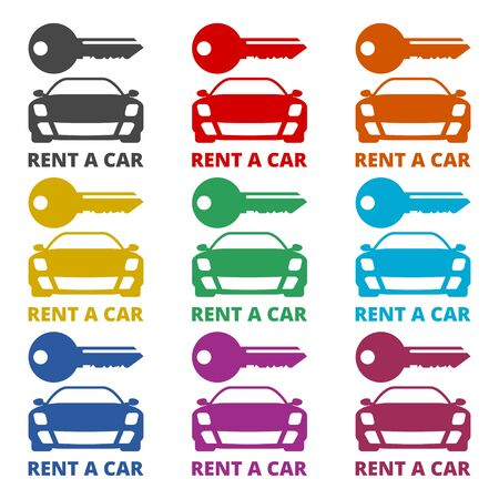 Car key, Car rental icon, color icons set