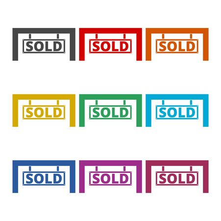 Sold sign icon, color icons set Çizim