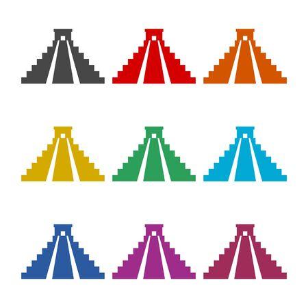 El Castillo pyramid in Chichen Itza flat icon, color icons set Ilustração