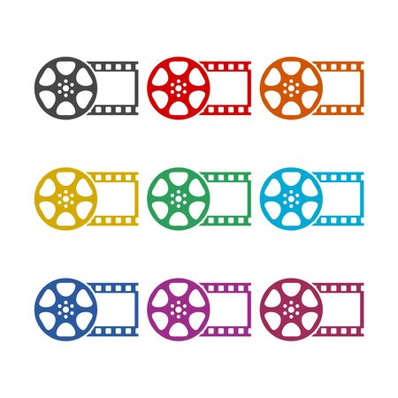Film reel icon, The video icon, color icons set
