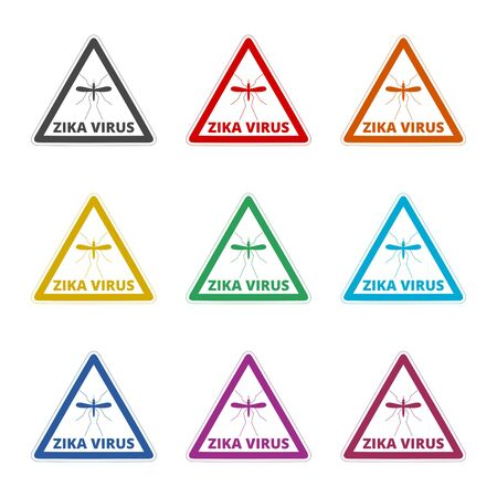 Zika Virus sign icon, color icons set Illustration