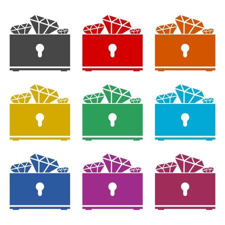 Treasure chest icon, color icons set