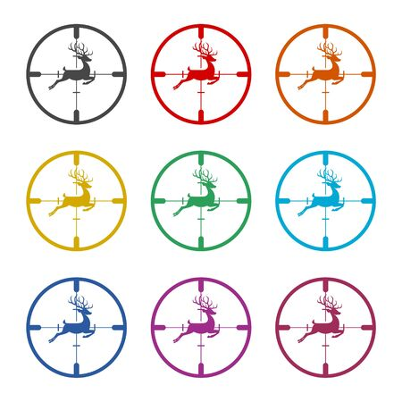Hunting sight icon, color icons set Stock Illustratie