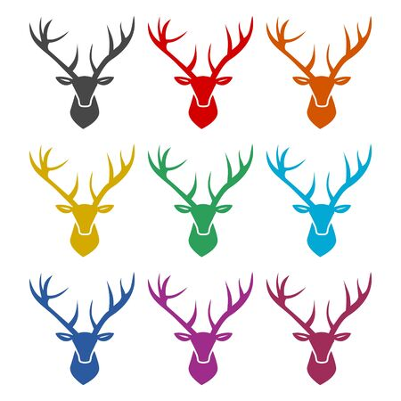 Deer head icon, color icons set