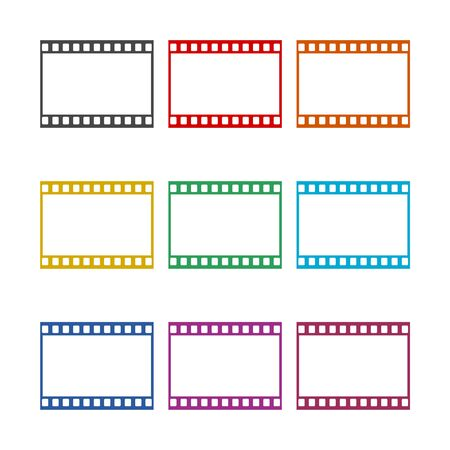 Blank film strip, film frame icon, color icons set Ilustração