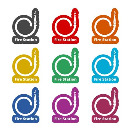 Fire station icon, Fire Service sign, color icons set Illustration