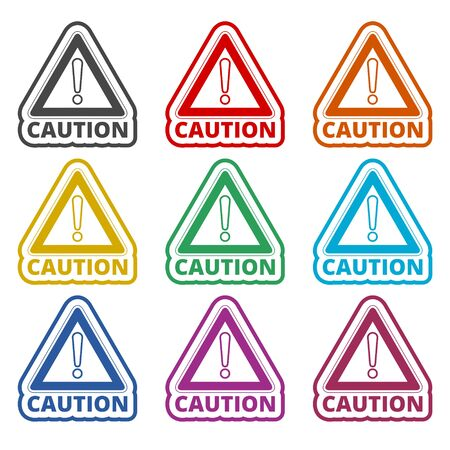 Attention caution sign icon, color icons set Stock Vector - 129900733