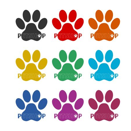 Pet shop icon, Veterinary Care, color icons set