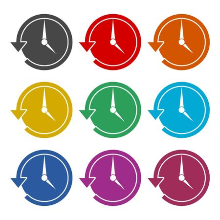 Time back icon, History icon, color icons set 向量圖像