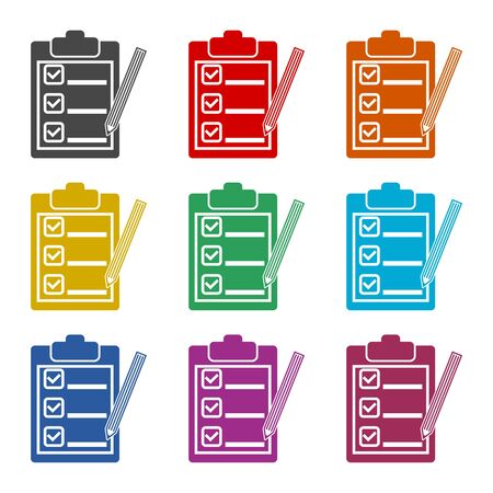 Clipboard and pencil icon, color icons set
