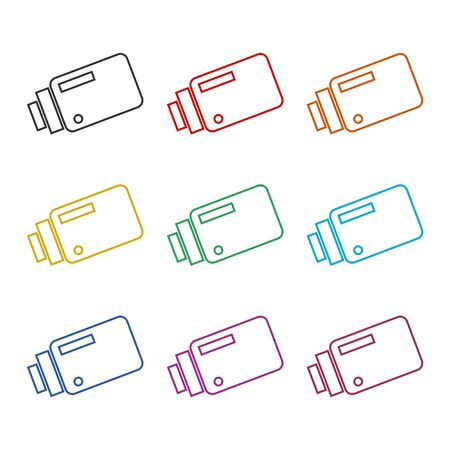 Security camera icon, color icons set Illustration