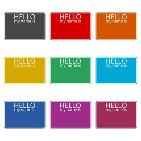 Hello my name card, with Copy Space icon, color icons set