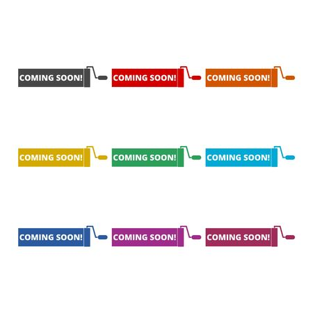 Coming Soon icon, color icons set Illustration