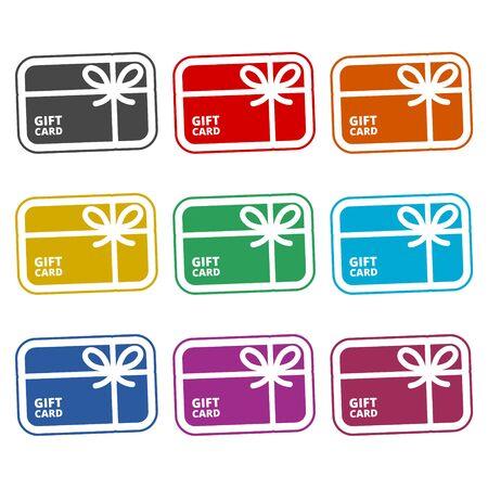 Shopping gift card icon, Gift card Icon, color icons set Ilustração