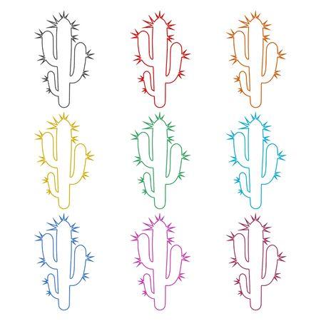 Cactus plant silhouette icon, color icons set Ilustrace