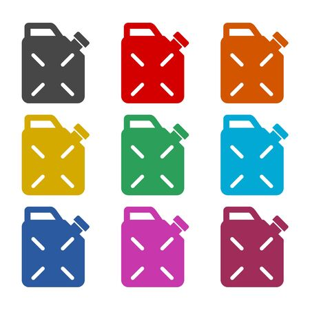 Jerrycan fuel icon, color icons set
