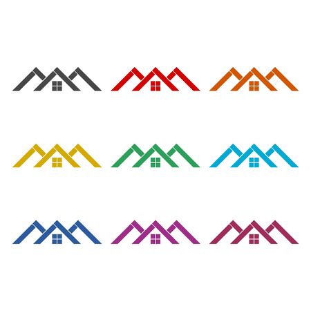 Home roof icon, color icons set Illustration