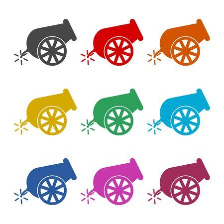 Cannon icon, color icons set Ilustração