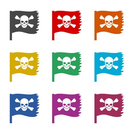 Skull icon, Pirate flag, color icons set  イラスト・ベクター素材
