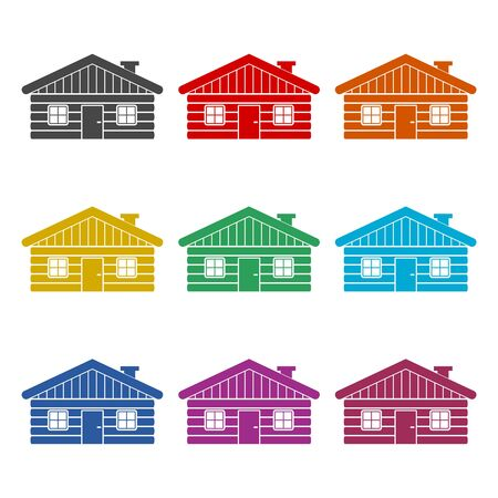 Wood log house icon, simple vector icon