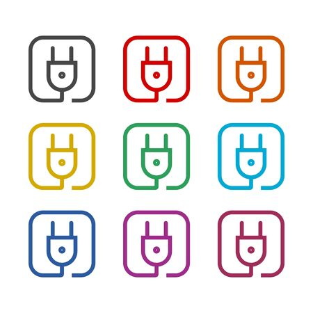 Plug in icon, color icons set  イラスト・ベクター素材