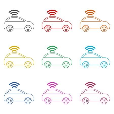 The Connected Car. Smart car icon with wireless connectivity symbol, color icons set