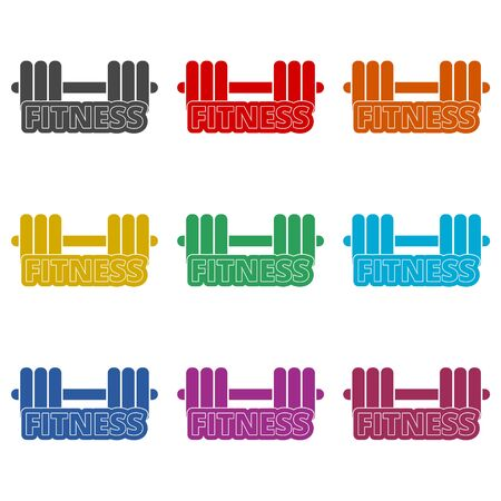 Gym dumbbell flat design, Cross fit icon, color icons set 矢量图像