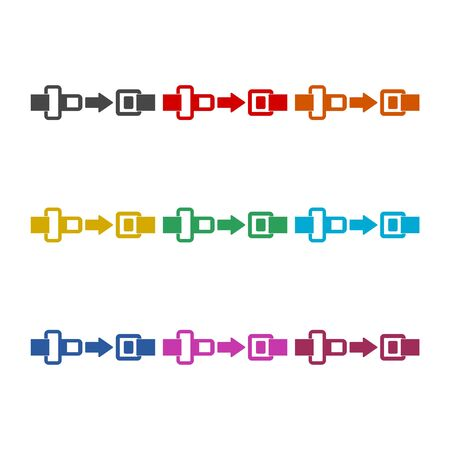 Seat Belt or Safety Belt icon, color icons set Illustration