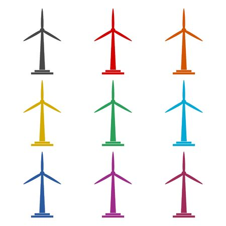 Wind turbine icon, eco concept, color icons set