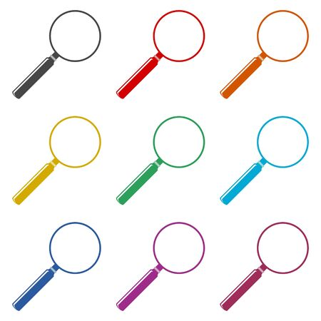 Search icon, Magnifying glass, color icons set