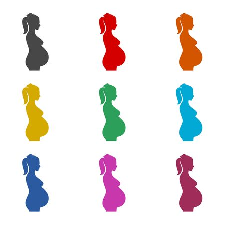 Silhouette pregnant woman icon, color icons set